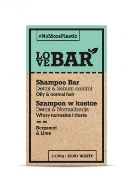 LOVEBAR Shampoo Bar Detox & Sebum Control (Oily & Normal Hair) Bergamot & Lime (2 x 30g)