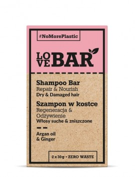 LOVEBAR Shampoo Bar Repair & Nourish (Dry & Damaged Hair) Argan Oil & Ginger (2 x 30g)