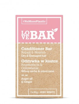 LOVEBAR Conditioner Bar Repair & Nourish (Dry & Damaged Hair) Argan Oil & Ginger (2 x 30g)